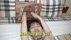 سادیست طاس طلای میکائی لاغر آسیایی را به هم گره می زند و او را محکم در عكس سكس كون ماشین نگه می دارد